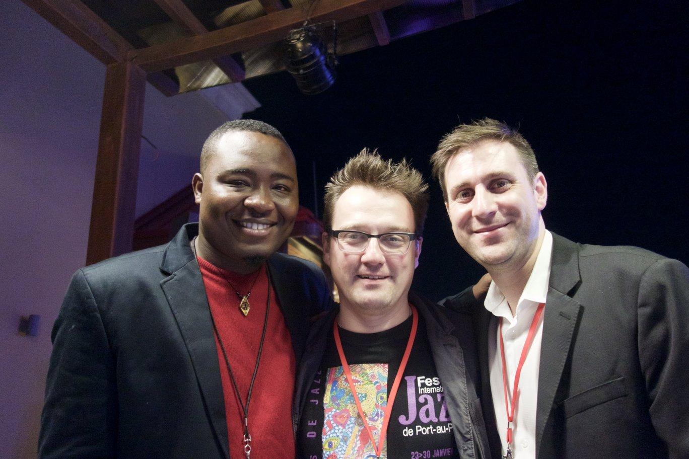 The Drummers in Haiti. Johnbern Thomas (Haiti), Markus Faller (Germany), Jim Doxas (Canada)